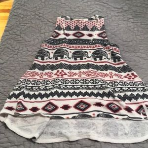 Tops - Small tank top with elephant and aztec print